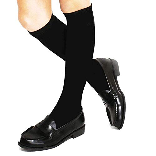 3 Pack Boys & Girls School Uniform Premium Cotton Rich Knee High Socks (Black, XL: Shoe size 4-7)
