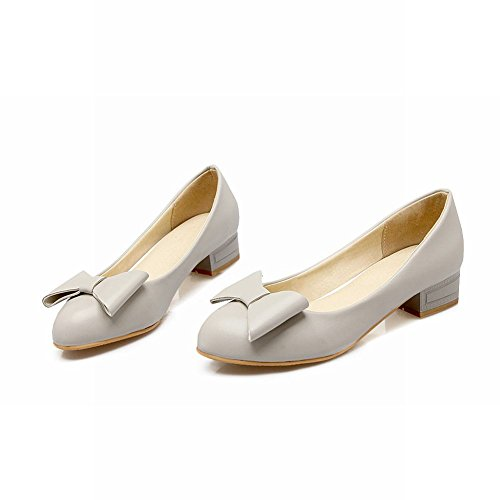 MissSaSa Damen modern und süß Schleife Chunky heel Pointed Toe Low-cut Pumps mit Blockabsatz Grau