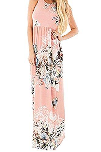 La Mujer Es Elegante Sin Mangas Estampado Floral Swing Boho Maxi Dress Pink