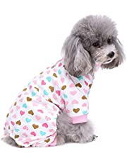 S-Lifeeling Dog Costumes for Indoor Outdoor Turtleneck Love Pattern Comfortable Puppy Pajamas Soft Dog Jumpsuit Shirt Best Gift 100% Cotton Coat for Medium and Small Dog