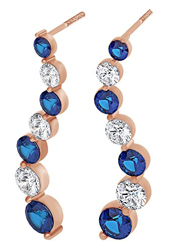 (Round Cut Simulated Blue Sapphire With Natural Diamond Journey Earrings In 14K Solid Rose Gold )