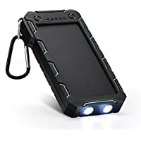 Solar Charger, Solar Power Bank 15000mAh External Backup Battery Pack Dual USB Solar Panel Charger with SunPower 2LED Light, Portable for Emergency Outdoor Camping Travel