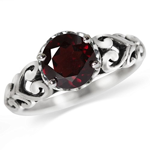 1.39ct. Natural Garnet 925 Sterling Silver Victorian Style Solitaire Ring Size ()