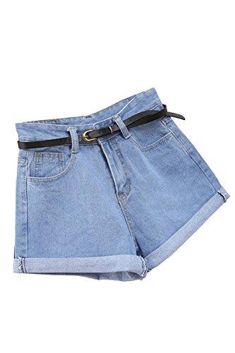 Sexy Pantaloncini Blue Estate Vita Casual Alta Yulinge Donne Jeans CHqfwPn