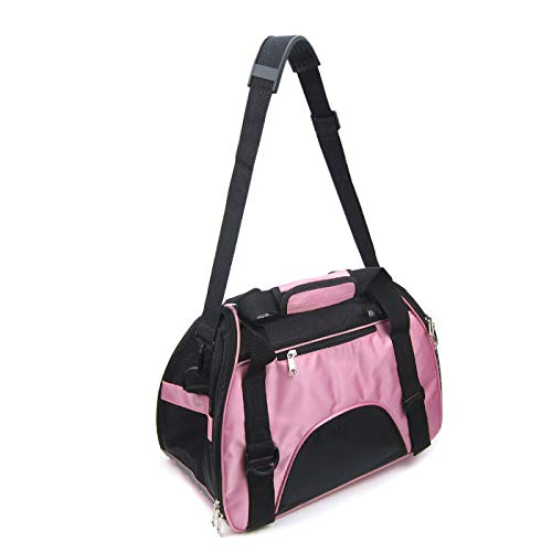 Alfie Pet - Melissa Pet Carrier with Adjustable Strap - Color: Pink, Size: S