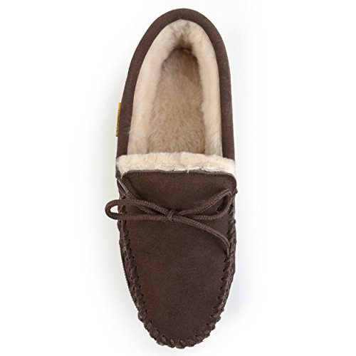 Brumby Mens Mocassino Pantofola Di Montone Marrone