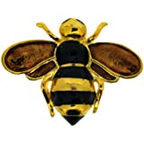 Jodie Rose Polished Gold Colour Metal Bee Brooch with Enamel