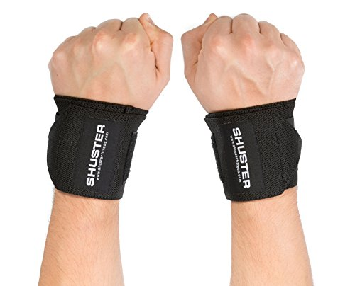 (Wrist Wraps by Shuster: Extra Support, NO THUMB LOOP, Bodybuilding, Powerlifting, Cross Fit, Weightlifting (Black,)