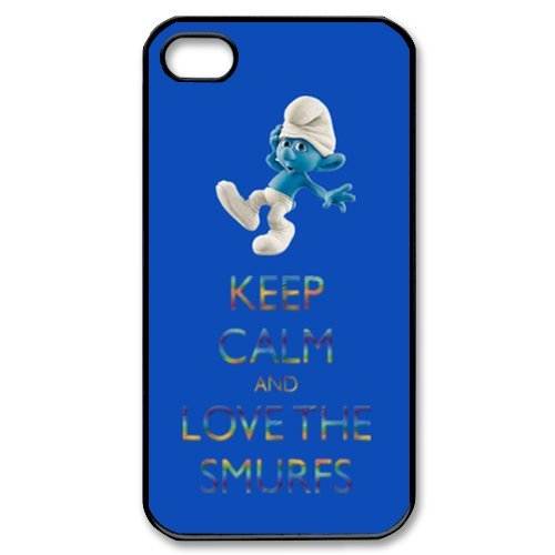 Keep Calm and Love the Smurfs Case for iPhone 4 4S (Smurf Iphone Case 4)