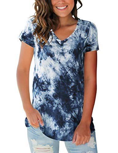 Womens Tops V Neck Short Sleeve Tie Dye Tee Shirts (Best Shirts For Tie Dye)