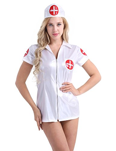 Alvivi Women's Sexy PU Leather Nurse Costume Cosplay Lingerie Set Nightwear Outfit with Hairband White Medium