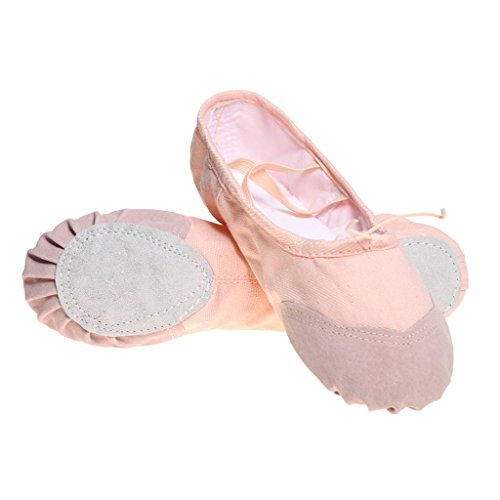 DoGeek Ballet Shoes Kids, Ballet Slippers for Girls with Canvas Material and Padded Sole - Ballet Up Slippers Lace