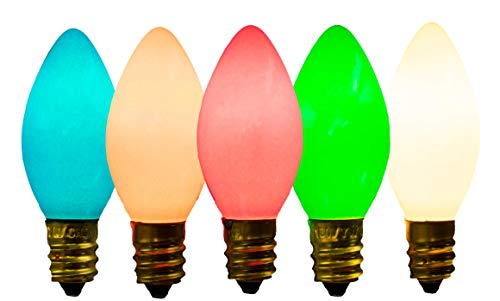 (EST. LEE DISPLAY L D 1902 C-7 Multi-Color Ceramic Steady Bulbs (Bulbs ONLY) 1 Box of 25 C7 Multi Solid Opaque Color Steady Burning Bulbs)