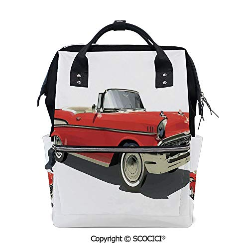 SCOCICI 3D Printed Laptop Daypack,Old Fashioned Authentic Fancy Car with Open Roof Top Past Times Transportation Theme,Vivid Custom Graphic Design