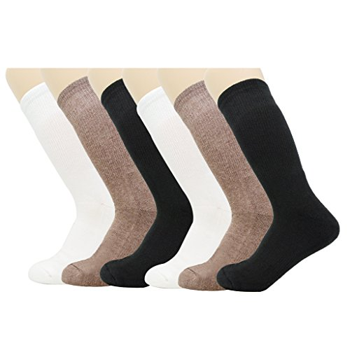 Price comparison product image [WHOLESOCKS] 1507 Unisex Essential Athletic Crew Socks (Shoe Size 5-10) Lint-Free, Strong Durability, Made in Korea, White & Brown & Black / 6 Pack