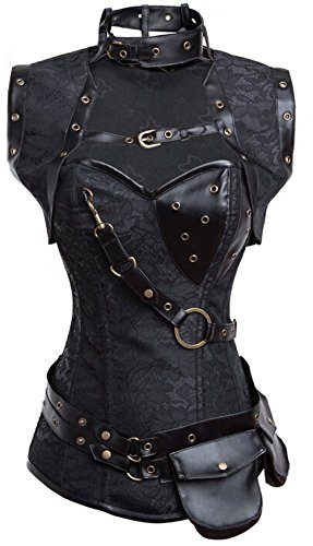 Colyanda Women's Plus Size Brocade Spiral Steel Boned Steampunk Corset Costume(Black 6XL) (Plus Size Steampunk Costume)
