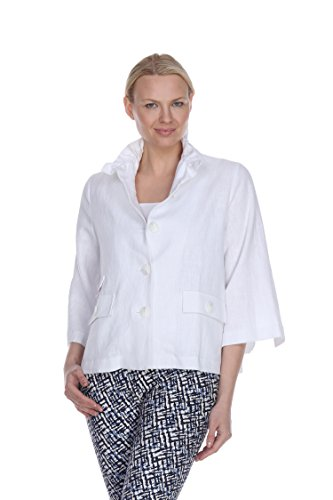 - Terra-Sj Apparel Women's 3/4 Sleeve Linen Jacket Convertible Wire Collar in White Color in Small Size