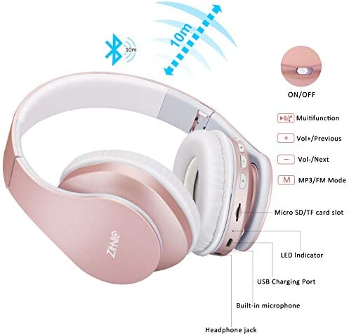 Bluetooth Over-Ear Headphones, Zihnic Foldable Wireless and Wired Stereo Headset Micro SD/TF, FM for Cell Phone,PC,Soft Earmuffs &Light Weight for Prolonged Waring (Rose Gold) 41763q3DcYL