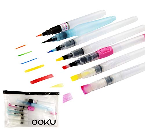 OOKU Watercolor Brush Pens 8 Piece Set - 7 Multi Purpose Watercoloring Brush pens - Bonus Pen Brushes Holder Pouch, Artist Grade Watercolor Brushes for Water Color Painting & Lettering ()