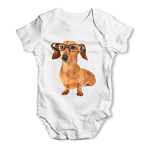 TWISTED ENVY Doxie Dachshund Hipster Dog Baby Unisex White Baby Grow Bodysuit 3-6 Months