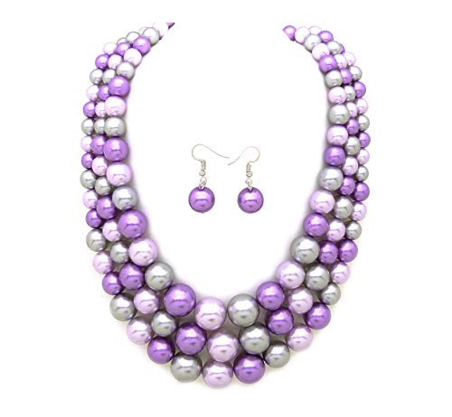 Women's Simulated Faux Three Multi-Strand Pearl Statement Necklace and Earrings Set (Lavender Mix Tone)