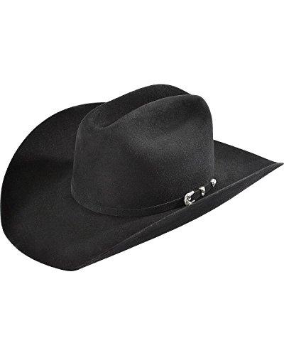 Justin Men's 8X Fur Felt Mustang Cowboy Hat Black 7 1/4 Fur Western Hat