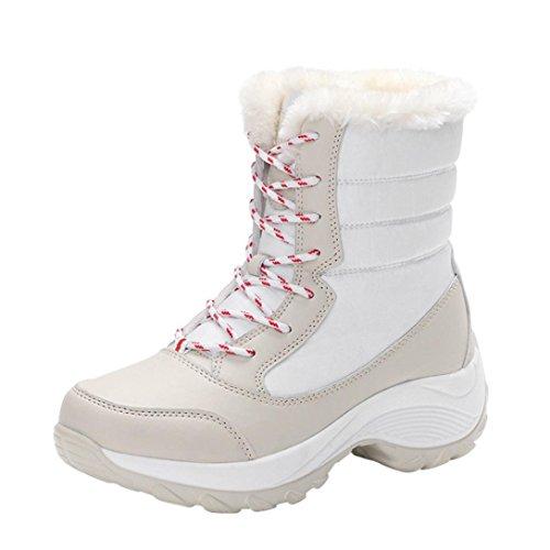 Dames Trek Winterlaarzen Faux Gevoerde Outdoor Werkschoenen Warme Enkel Snowboots (7, Blauw) Wit