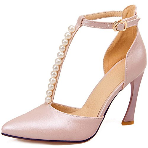 LongFengMa Women Fashion T-Strap Sandals Lady Comma High Heel Shoes with Pearl