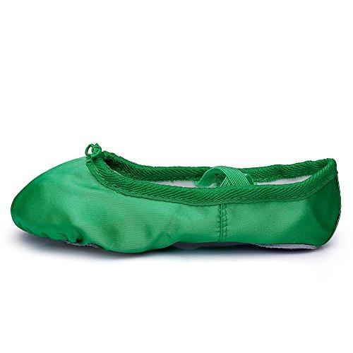 Zapatos De Yoga Planos De Ballet Satén Para Mujer Suela Dividida Sole Green