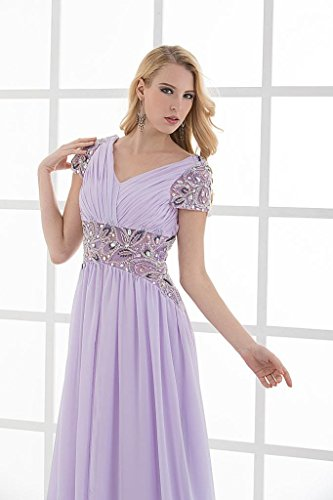 Chiffon GEORGE BRIDE Lila Perlen mit V Abendkleid Ausschnitt aermel wfTtq