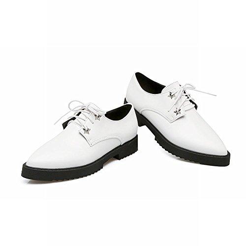 Show Shine Lacci Delle Donne Scarpe Stringate Con Plateau In Chunky Heel Bianco