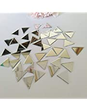 """ACFENG Set of 200pcs 1/2"""" Triangle Mirror Mosaic Tile,Triangular Real Glass Mirror DIY Crafts Accessory (Silver)"""