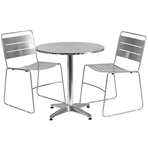 MFO 27.5'' Round Aluminum Indoor-Outdoor Table with 2 Silver Metal Stack Chairs