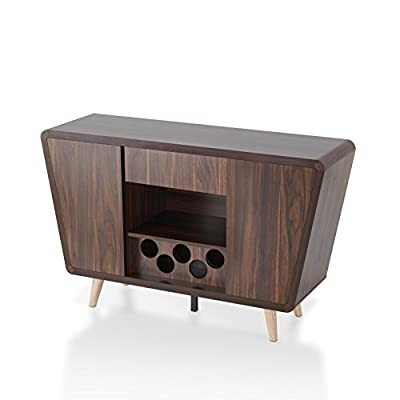 HOMES: Inside + Out IDI-161549 Wine Rack, Dark Walnut - Mid-century modern style; dark walnut Finish 2 tall cabinets with angled side panels open to reveal interior stacked shelves and built in stemware rack Discreet handless drawer is ideal for storing slim dishware - sideboards-buffets, kitchen-dining-room-furniture, kitchen-dining-room - 417657KVctL. SS400  -