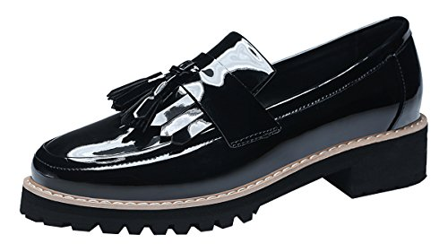 FreeRun Girl's British Style Low Cut Retro Tassel Casual Flat Loafer(6 B(M)US,black)