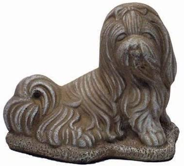 Solid Rock Stoneworks Shih Tzu Stone Dog Statue 8in Tall Desert Sand Color