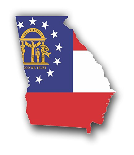 Stickers Georgia Flag (Vinyl Junkie Graphics Georgia State Flag Outline Car Truck Window Laptop Sticker Decal)