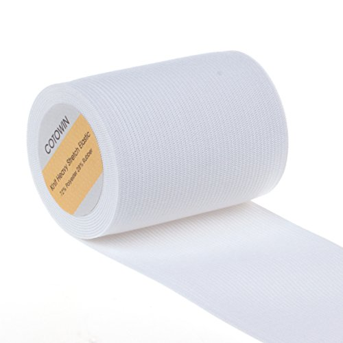 COTOWIN 3-Inch Wide White Knit Heavy Stretch Elastic 3 Yards