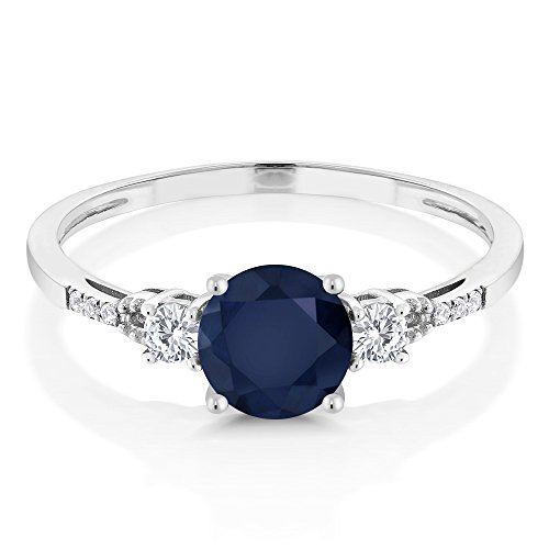 10K White Gold Blue Sapphire White Created Sapphire and Diamond Accent 3-stone Engagement Ring (1.15 Cttw, Available in size 5, 6, 7, 8, 9)