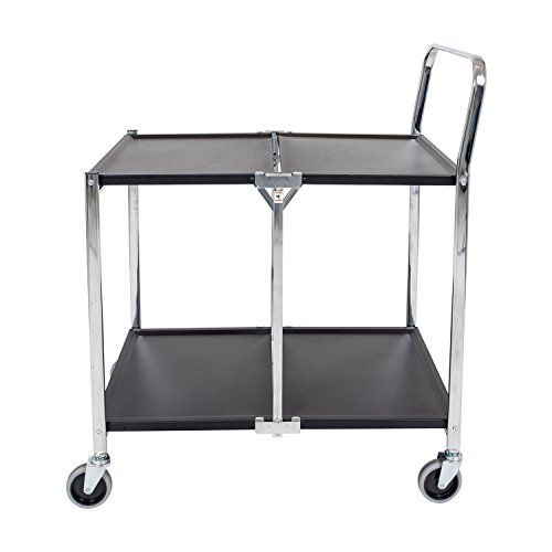 Luxor 2 Shelf Collapsible Metal Service Utility Cart - Black/Chrome ()