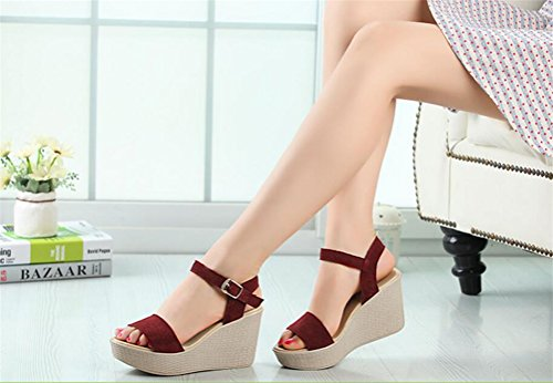 Womens Leather Platform High Heel Wedges Buckle Casual Sandals Plus Size Dark Red KAVUwhrSJ