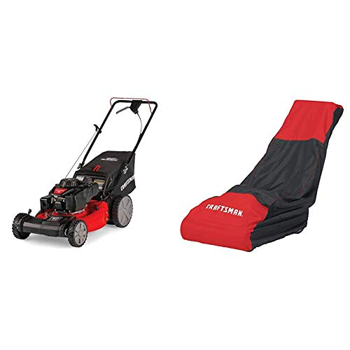 Craftsman M215 159cc 21-Inch 3-in-1 High-Wheeled FWD Self-Propelled Gas Powered Lawn Mower with Bagger With Craftsman Walk Behind Lawn Mower Cover