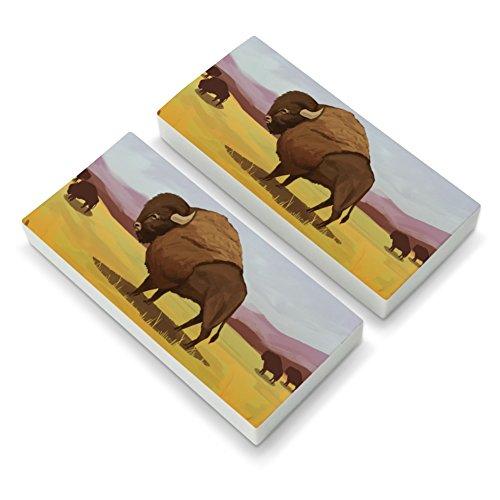 (American Bison Buffalo Herd on The Plains Eraser Set of 2)