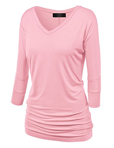 (Made By Johnny WT1036 Womens V Neck 3/4 Sleeve Dolman Top with Side Shirring S Pink)