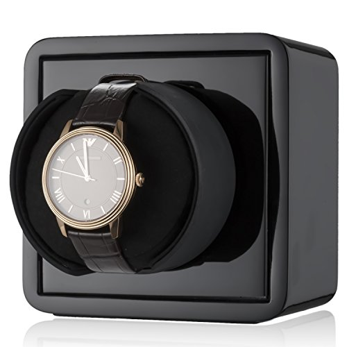 4 Mini Watch (CHIYODA Single Watch Winder Mini Cubic Base with Piano Baking Finish - Black)