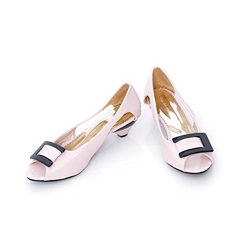 Aalardom Kvinna Pådrag Peep-toe Låga Klackar Lackläder Fast Sandaler Rosa (3,5cm)