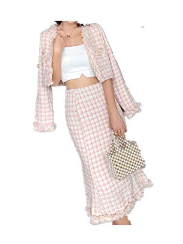 This is an Updrade Suit,2018 Mujer Pocket Pearl Jacket Coats + Mermaid Skirt Suits,Picture Color,S