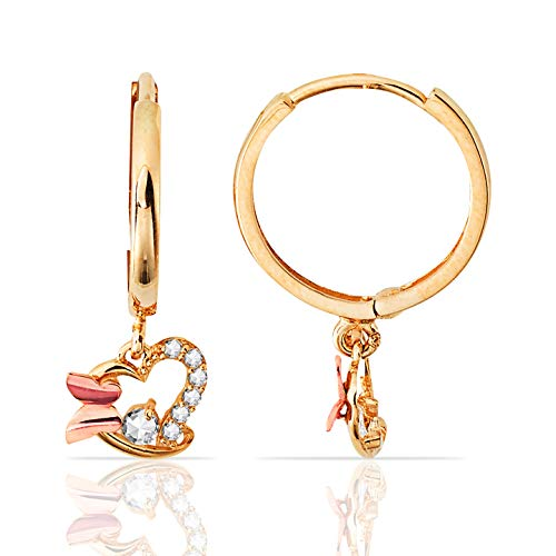 Cute Butterfly and Heart With CZ Accents Dangling Earrings in 14K Rose and Yellow Gold