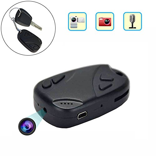 Cainda Hidden Spy Camera Keychain 480P, Portable Mini DV Cam for Recording and Noting, Micro Car Key Security Camera for Home and Office - Key Camera