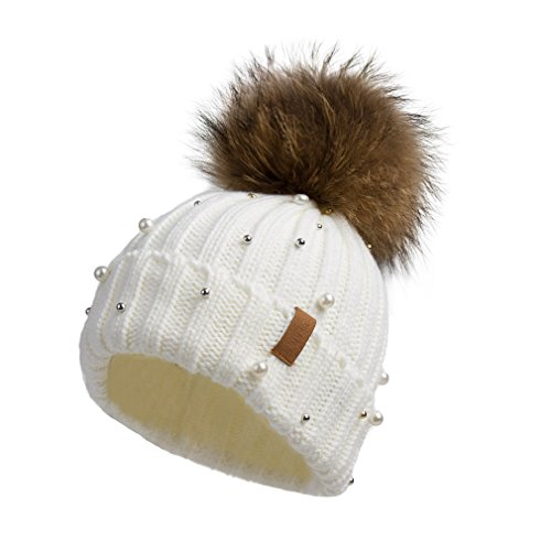 Gold Knit Beanie (Pilipala Women Knit Winter Turn up Beanie Hat by With Pearl and Fur Pompom VC17605 White Gold Pompom)